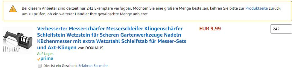 999 Methode auf Amazon verhindert